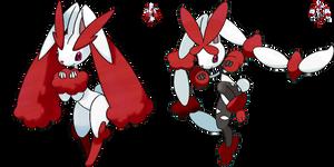 Shiny Redo: #428 Lopunny + Mega Lopunny by SkydraoftheGoddesses