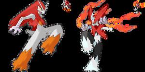 Shiny Redo: #257 Blaziken + Mega Blaziken by SkydraoftheGoddesses