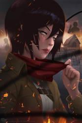 Mikasa Ackerman Attack on Titan by DarkKenjie