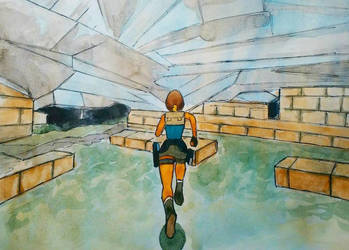Tomb Raider classic (Watercolor + Liner) by Oldquaker
