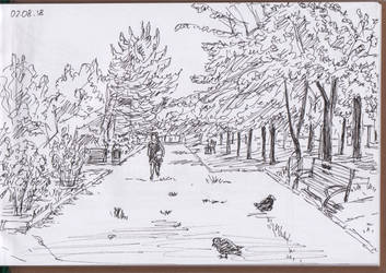 Mariupol plein air in the park. From my sketchbook by Oldquaker