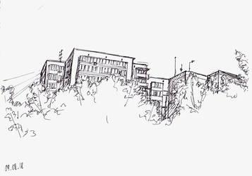 Behind the trees. Plein air from my sketchbook by Oldquaker