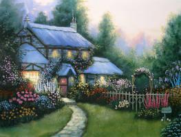 Blue Cottage, a Kinkade Study by Kchan27