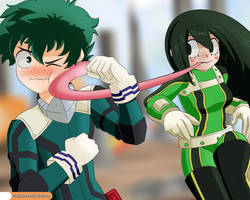 BNHA - Sparring: Midoriya vs Tsuyu by Winkyfaces
