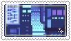 blue pixel city stamp . by memesking
