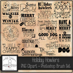 Happy Howlidays Word art Set + PS Brush Set by Digi--Treats