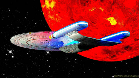 Enterprise D and the Demon Class Planet by Dave-Daring
