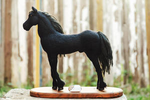 Black Horse Needle Felted by Lyntoys