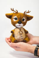 Fawn Needle Felted Elian by Lyntoys