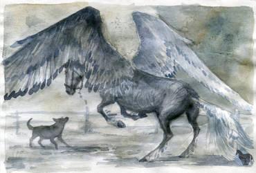 How dog Burek met Pegasus in the backyard by OblokMagellana
