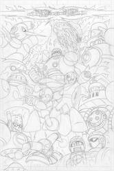 Mega Man #55 pg9 - Pencil by SnakeDiver