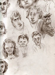 Faces and a Horse by Wetterschneider