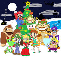 Super Mario and Friends Mushroom Kingdom Christmas by sergi1995