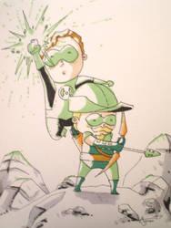 Green Lantern with Green Arrow by AgnesGarbowska