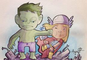 Hulk Punching Thor by AgnesGarbowska