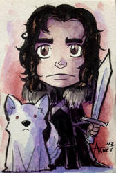 Jon Snow and Ghost by AgnesGarbowska