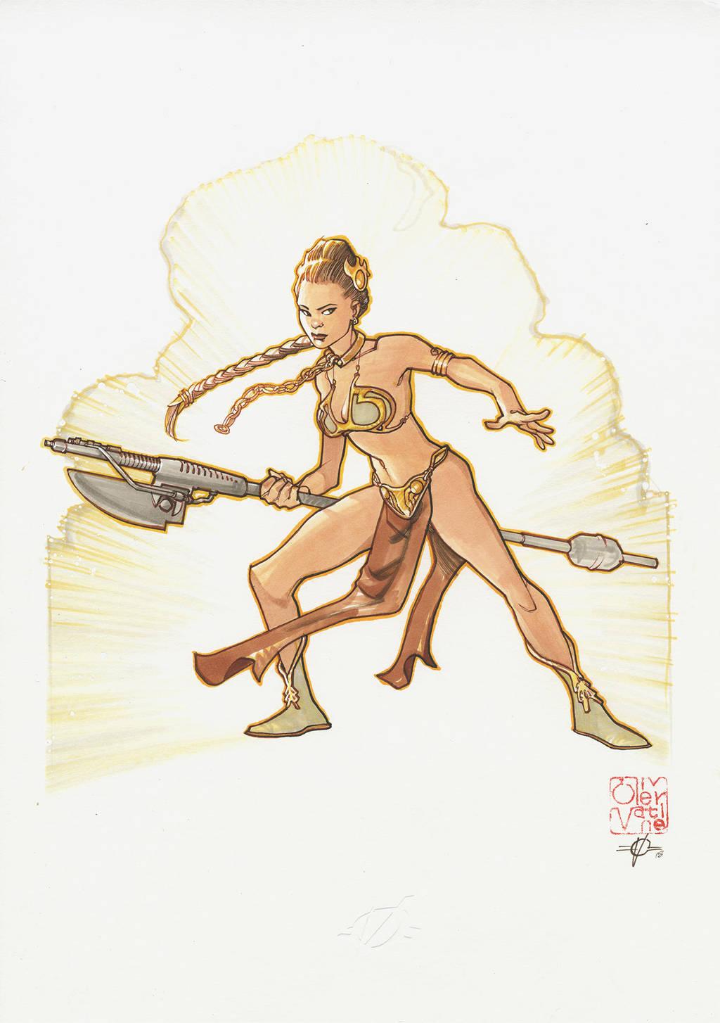 Slave Leia commission by lao-wa