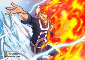 Todoroki Shouto - Flaming Will by JazylH