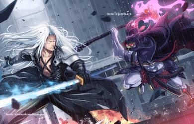 Art Collab : Skeletor V/s Sephiroth by JazylH
