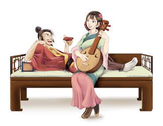 Cao Cao and Lady Bian by Sibauchi