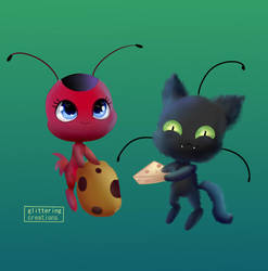Tikki and  Plagg by glitteringcreations