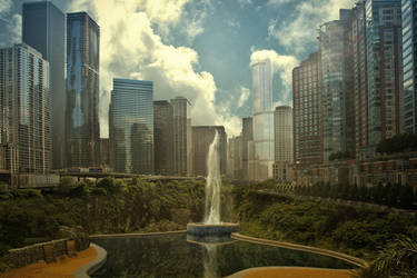 City in the summer by gestandene