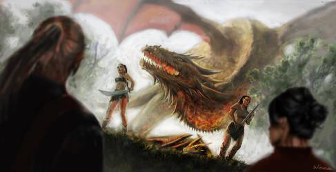 Golden dragon - The Witcher fanart by Wieszcza