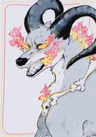 Beast - Houndoom - #inktober Day 5 by Zip-Zalp