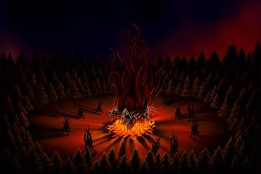 Shub-Niggurath in the forest by Vizcexa