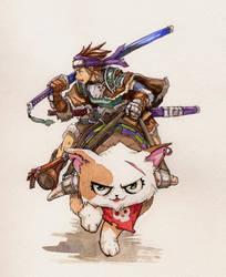 Watercolor Kitty rider by UchidaB