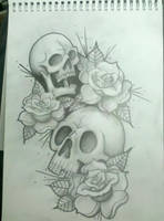 skulls and roses by 76Bev