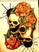 paint splash skull roses by 76Bev