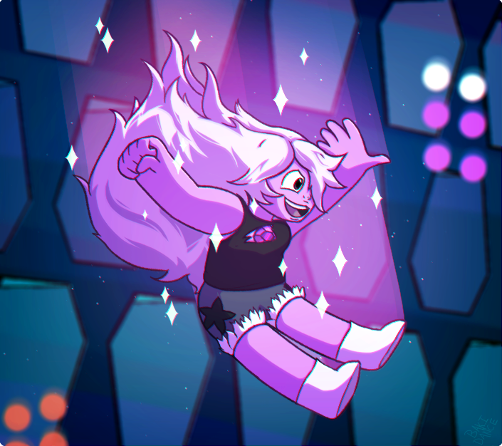 I love her new form so much!! I also REALLY like how this came out (much better than my first Amethyst attempt 3 years ago. fav.me/dcyj5mv ) THE HAIR WAS SO MUCH FUN TO WORK ON.