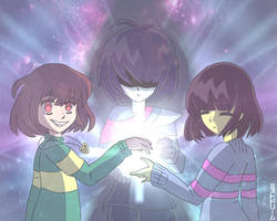 Kris, Chara, and Frisk by FoxsiaGamer