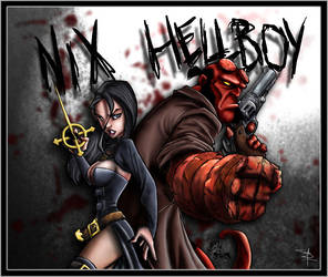 Nix and Hellboy by bennettua