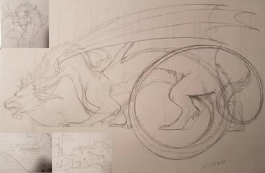 Furry dragon sketch dump by TurtleClairou