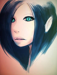 The girl with the over-saturated eyes by Static-Vision