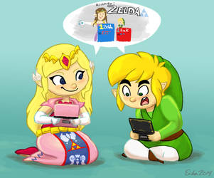 Zelda and Link Playing 3DS by erikathegoober