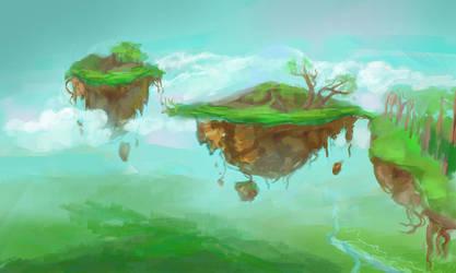 Floating Islands 1 by dreamin-Lea