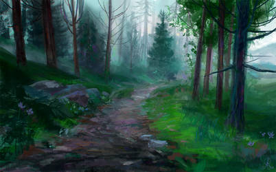 Misty forest by dreamin-Lea