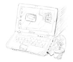 Laptop Flower by PawnDude