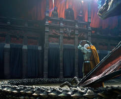 Daemon Targaryen offering his crown by chasestone