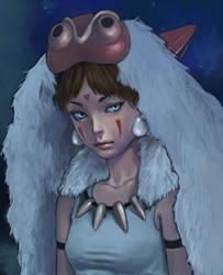 Redrawn Princess Mononoke by asyuumi