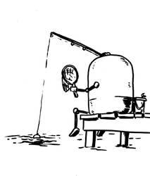 Inktober Day Twenty Four - FishingBot by Comicbookist