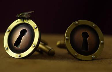 Steampunk Keyhole Cufflink by Lostwaxoz