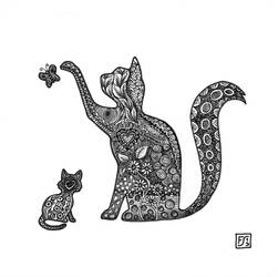 Cat and Kitten tangling together by gormash