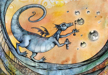 Dragon and bubbles by Marinelli