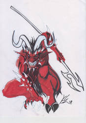 Old school metal fest sketches - pointy devil by roadkillblues