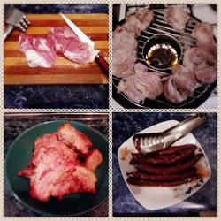 Grilled pork meat and sausage by saiaj