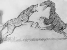 Dire Wolf vs Deinonychus by Mechafire1234
